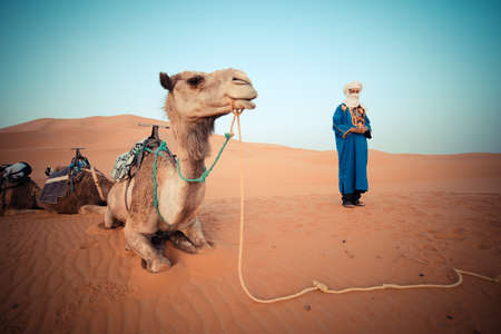 sahara desert: SAHARA DESERT, MOROCCO, JUNE 2016: berber in traditional clothes with camel in daily trips with tourists in the desert