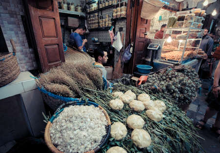 casbah: FEZ, MOROCCO, JUNE 2016: traditional shop in the old market. Street vendor in the old medina Editorial