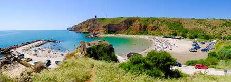 bulgaria girl: Bolata beach Bulgaria. Famous bay near Cape Kaliakra. Panoramic image.