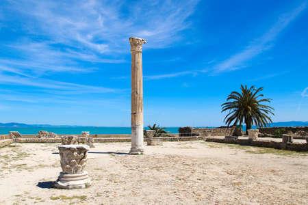 The old Roman empire ruins in Carthage - Tunisia. Blue sky, sunny summer day.