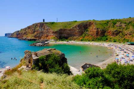 Bulgarian beach Bolata bay near Cape Kaliakra at the Black Sea. Sandy beach and summer hot weather. Stock Photo