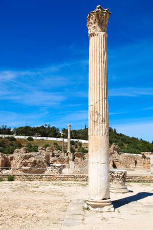 cartage: The old Roman empire ruins in Carthage - Tunisia. Blue sky, sunny summer day.