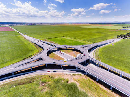 Roundabout aerial view Stock Photo