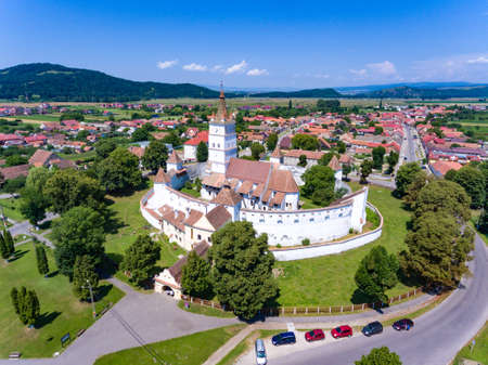 Harman Fortified Church in Transylvania Romania as seen from above