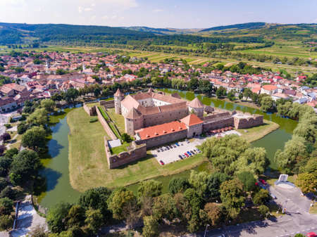 Aerial view of Fagaras Fortress in the city of Fagaras, Transylvania Romania