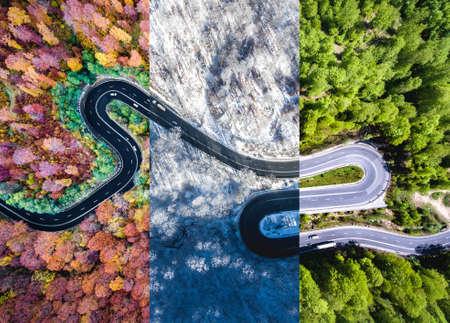 Clausineró masvevendóndve mas gotas Bontary masvevendónd94 Colage de otoño, verano e invierno. Vista aérea desde arriba de un dron.