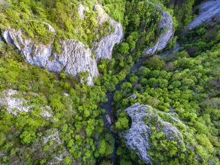 Varghis Gorges in Covasna and Harghita county, Transylvania, Romania. Entrance to the three caves visible. Aerial view from a drone.