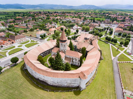 Aerial view of Prejmer fortified Church. UNESCO world heritage site