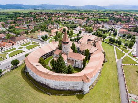 Luchtmening van Prejmer versterkte Kerk. UNESCO werelderfgoed Stockfoto - 83371762