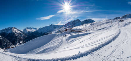 Panoramic view of a ski resort in Austria
