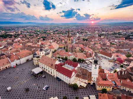 Above Sibiu at sunset Редакционное