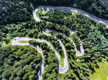 Cars on winding road trough the forest aerial view Stock Photo