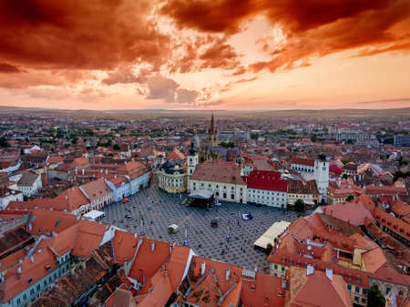 rumania: Sibiu Romania aerial view at sunset Stock Photo