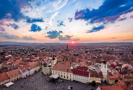 rumania: Sibiu panorama in Transylvania Romania
