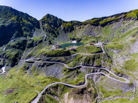 Transfagarasan and Balea Lake aerial view