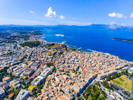 Corfu town from above. Old capital of the island Kerkyra, Greece, Europe. Mediteraneean architecture. Old fortress visible in the back.