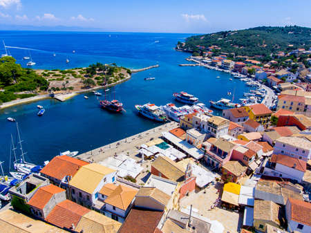Gaios, capital city of Paxos Island near Corfu, aerial view. Important tourist attraction in the Ionian islands, Greece. Stock Photo
