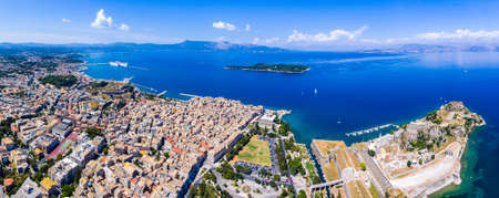 Corfu town from above. Old capital of the island Kerkyra, Greece, Europe. Mediteraneean architecture. Old fortress and cruise harbor visible. Editorial
