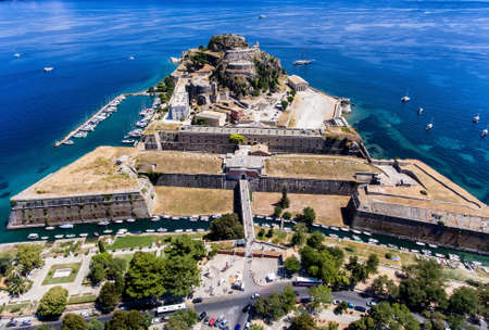 The old venetian fortress in Corfu town, the capital of Kerkyra Island, Greece. Aerial photography. Important tourist attraction. Editorial