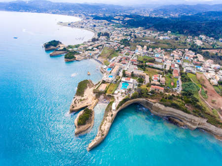 turqoise: Sidari, Corfu, Greece. Famous for its beaches and magnificent clifs. Aerial view from a drone.