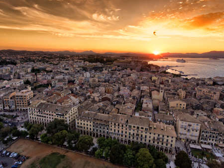 Corfu town panoramic sunset. Aerial image from drone. Kerkyra island capital old city. Editorial