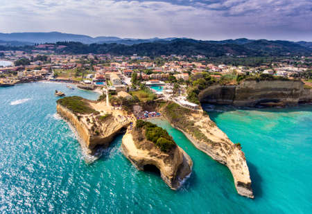 Canal D'amour, Corfu Kerkyra, Greece. The most well known beach on the island, with it's turqoise waters and breathtaking view. Aerial image from a drone.