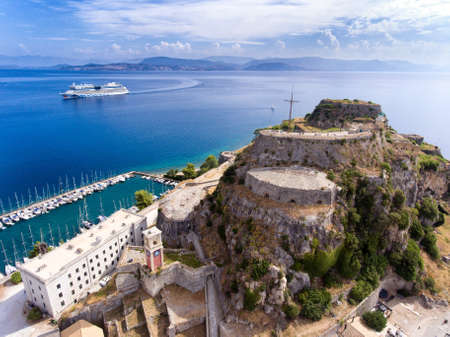 Corfu old fortress aerial view. The old venetian fortress near the capital of Kerkyra Island, now an important tourist attraction.