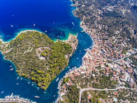 Paxos island from above. Aerial view of the small town Gaios, capital of the island.