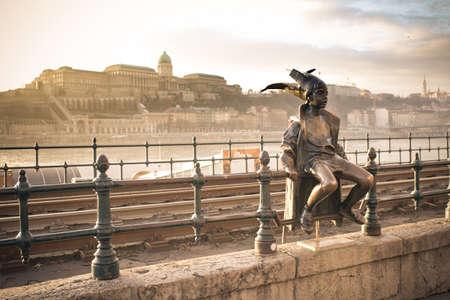reviews: Budapest Little Princess, main tourist attraction and city symbol near the Danube river. Artistic interpretation Stock Photo