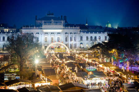 Traditional Christmas Market in Vienna, Austria. Important tourist attraction and the biggest Christmas fair in the country