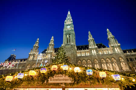 VIENNA, AUSTRIA - 6 DECEMBER 2016: The traditional Christmas Market in fornt of the City Hall (Rathaus), Austria,Vienna