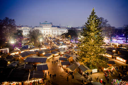 vienna traditional christmas market 2016 aerial view at blue hour sunset wien - Vienna Christmas Market