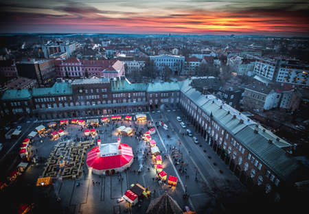 Szeged Christmas Market from above. Aerial photography at sunset. Hungary, Europe. Editorial