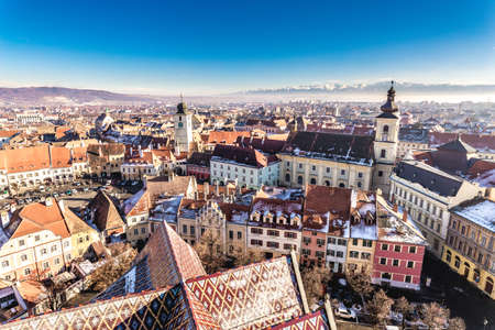 rumania: Overview of Sibiu, Transylvania, Romania. View from above. HDR Photo. Editorial