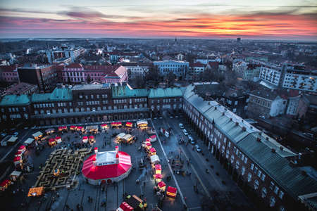 Szeged Advent Christmas Market aerial view at sunset