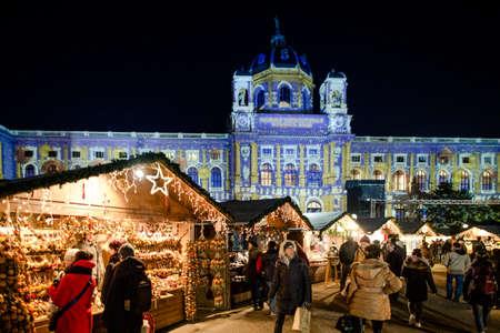 VIENNA, AUSTRIA - 6 DECEMBER 2016: Maria Theresa Square (Platz) Christmas Market, Wien, Austria, Europe Editorial