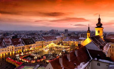 rumania: Christmas Market in Sibiu, Transylvania Romania. Beautifull sunset in the heart of Transylvania. City also known as Hermannstadt