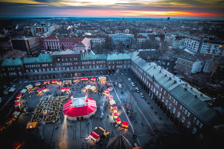 Szeged panorama at sunset, view from the Votive Church Clock Tower. Hungary, Europe. Stock Photo
