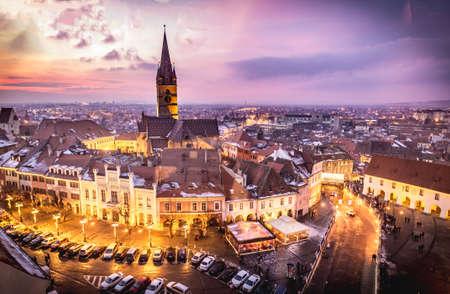rumania: Sibiu, Transylvania, Romania central square at sunset. Hermannstadt city. Editorial