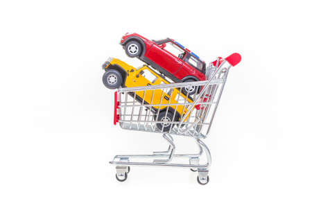 pushcart: Online shopping cars conceptual image with cars in shopping cart