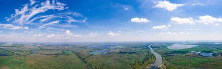 Danube Delta panorama shot from helicopter Standard-Bild
