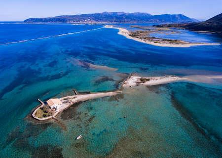 Agios Nikolaos island in Lefkada Greece Ioanian Islands as seen from above Stock Photo
