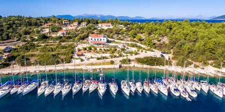 Yachts ancored in bay at Fiskardo Kefalonia Greece Stock Photo