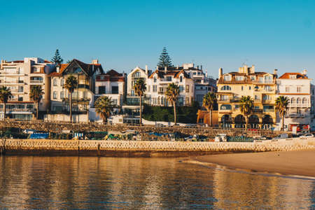 Cascais promenade sea view at sunrise in the morning. Cascais travel destination in Lisbon district, Portugal