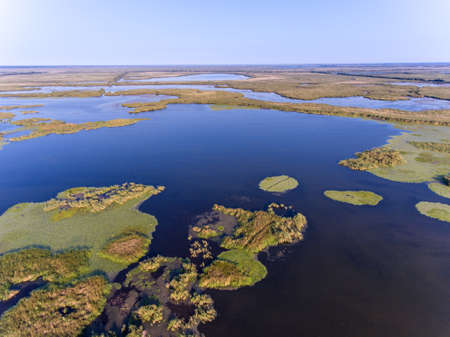Danube Delta from above panoramic picture (Delta Dunarii) Romania 免版税图像