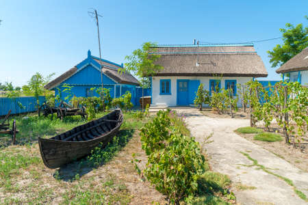 Letea, Danube Delta, Romania, August 2017: Traditional House in Delta Dunarii (Danube Delta) Romania 新闻类图片