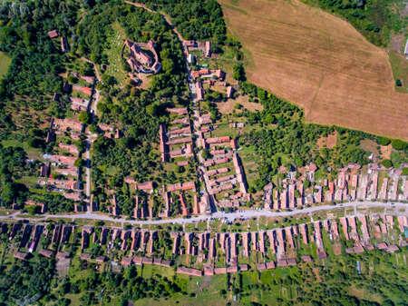 Saxon Village Viscri in Transylvania, Romania. Aerial view from a drone