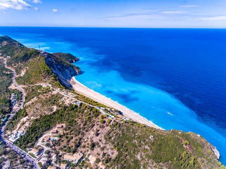 Milos Beach in Lefkada, the second most famous beach on the island as seen from the air panorama view