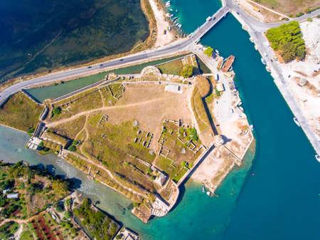 Santa Maura Castle Lefkada top down aerial view Stock Photo
