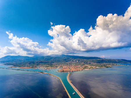 Aerial view of Lefkada main canal and harbour entrance near Lefkada Town Greece Island